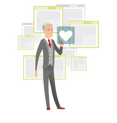 senior businessman pressing web button with heart vector image vector image