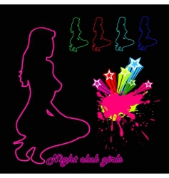 woman silhouette night club girls vector image vector image