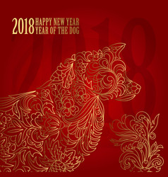 2018 chinese new year year of the dog vector image