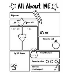 All about me printable sheet writing prompt vector