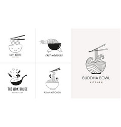 Asian food restaurant logo collection hand drawn vector