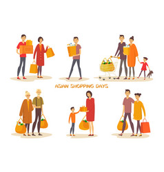 Asiatic people at shopping vector