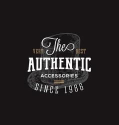 authentic accessories store retro typography vector image