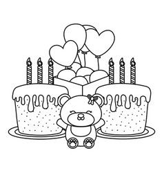 babirthday party elements black and white vector image
