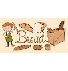 Baker and different kind bread vector