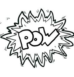 Black and white cartoon comic book pow symbol vector