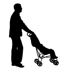 Black silhouettes father with pram on white vector