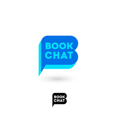 book chat logo digital library emblem blue vector image
