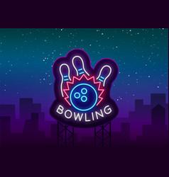 bowling logo neon sign symbol bright vector image