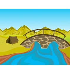Bridge through river vector image vector image