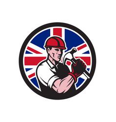 British handyman union jack flag icon vector