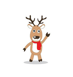 brown reindeer with red scarf standing vector image