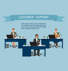 call center employee characters set with headset vector image