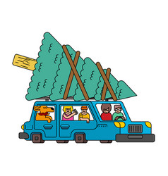 Car and christmas tree auto and spruce new year vector