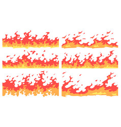 cartoon fire border flame divider bright fire vector image