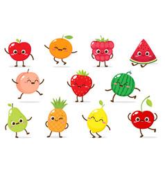 cartoon set funny fruits vector image