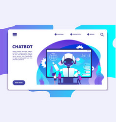 chatbot landing page ai robot chatting with woman vector image