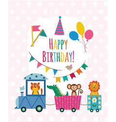 children birthday card with animals riding train vector image