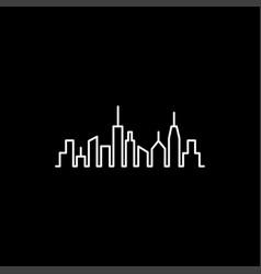cityscape line icon on black background black vector image