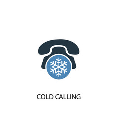 Cold calling concept 2 colored icon simple blue vector