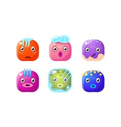 collection glossy buttons colorful cubes vector image