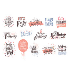 Collection of colorful birthday wishes or hand vector