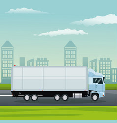 color background city landscape with truck in vector image