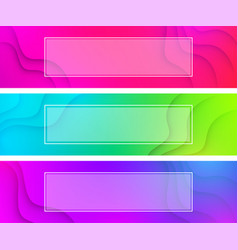 colorful wavy banners with white frame vector image