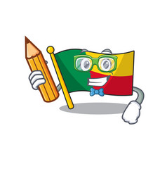 Cool smart student flag benin scroll character vector