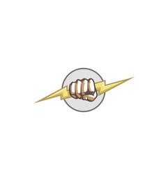 creative fist hand thunder logo vector image