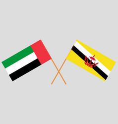 Crossed flags brunei and united arab vector
