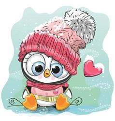Cute cartoon penguin in a knitted cap vector
