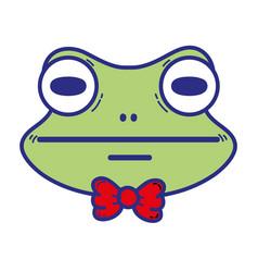 Cute frog head wild animal vector