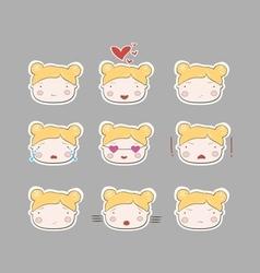 Cute Simple Drawing Blonde Baby Girl Emotions Set vector image