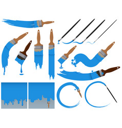 Different sizes of paintbrushes with blue paint vector