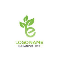 E letter eco logo design template vector