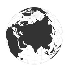 Earth globe focused on asia continent vector