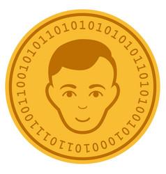 Face digital coin vector