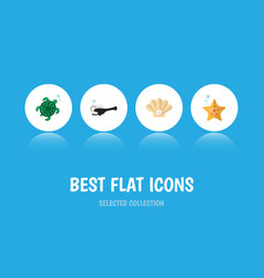 Flat icon nature set fish conch tortoise and vector