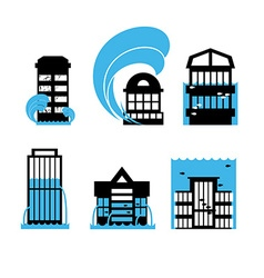 Flood and tsunami icons set houses Flooding of vector