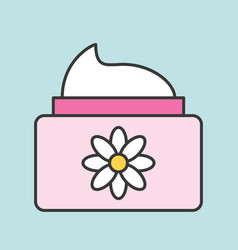 floral cosmetic lotion jar icon vector image