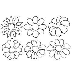 Flowers in doodle design vector