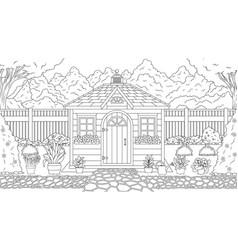 Garden house coloring vector