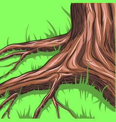 grass around the tree vector image