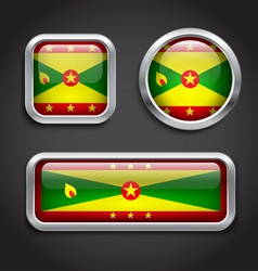 Grenada flag glass buttons vector image