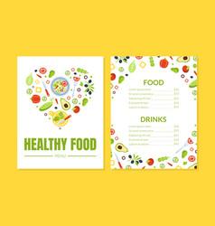 healthy food menu template vegetarian restaurant vector image