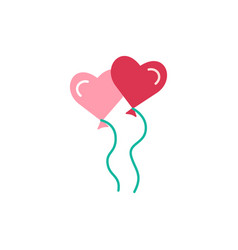 heart shaped balloons flat icon vector image