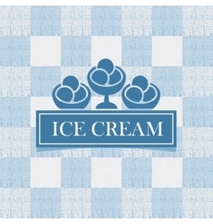 Ice cream against tablecloth in the box vector