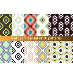 Ikat seamless pattern set Abstract vector image