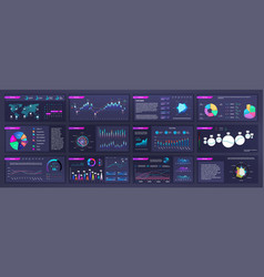 Infographic dashboard mockups with pie charts vector